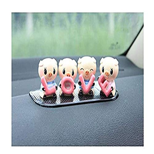 Hey shop Decoración de coche amor cerdito interior, adecuado para decoración de cochinillos modelo de coche cerdito 4 piezas 1 juego, 4 Cerditos, 1.6 high 1.2in wide