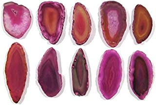 Zentron Crystal Collection: Set of 12 Pink Polished Light Table Agate Slices in Velvet Bag