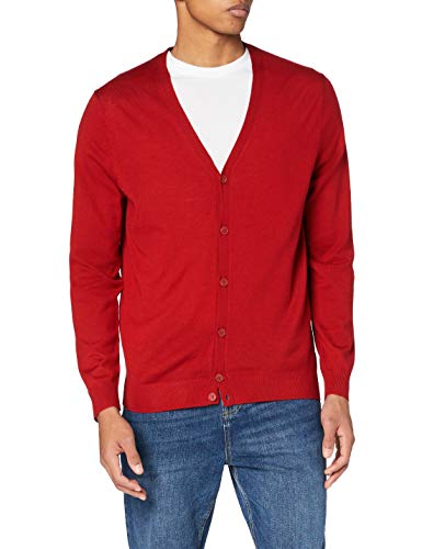 Amazon-Marke: MERAKI Merino Strickjacke Herren mit V-Ausschnitt, Rot (Red), M, Label: M