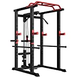 Power Cage 1000-Pound Capacity Exercise Stand Olympic Squat Cage Power Rack with LAT Pull-Down Attachment, Multi-Grip Pull-up Bar and Dip Handle for Men Women Strength Training Home Gym Equipment