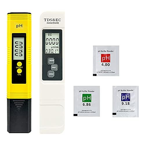 Jooheli Medidor PH, 4 en 1 Medidor PH y EC, Medidor de Prueba de Calidad del Agua con LCD Retroiluminada, Medidor Ph y Cloro para Piscinas, Medidor PH Digital para Piscina/Agua Potable/Acuar