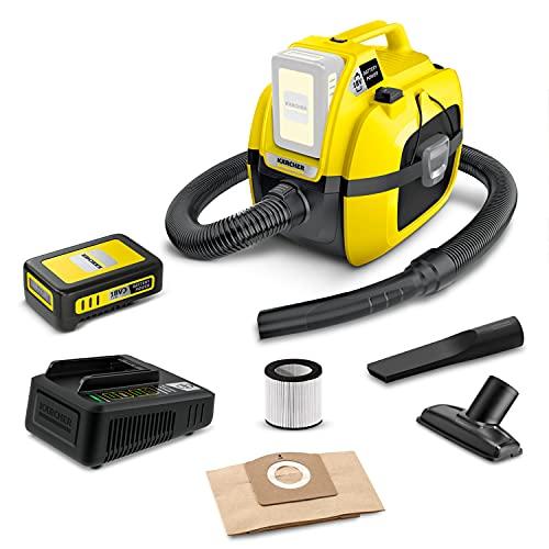 Kärcher 18 V Akku-Mehrzwecksauger WD 1 Compact Battery Set, inkl. 18 V/2,5 Ah Akku & Schnellladegerät, Nass- & Trockensauger, Patronenfilter, Saugschlauch: 1,20 m, Behältergröße: 7 l, Leistung: 230 W