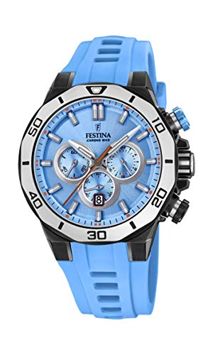 Festina Unisex Erwachsene Chronograph Quarz Uhr mit Silikon Armband F20450/6