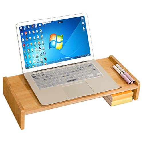 UYASDASFAFGS Universele Houten Monitor Stand, houten Computer Monitor Riser Save Space Desktop Stand Voor Imac Pc Notebook Laptop Stand-a