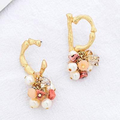 Zuiaidess Damen Ohrringe,Gold Gehämmert Metall Erste Alphabet Buchstaben C Und D Handgefertigte Perlen Ohrringe Koreanischer Mode Bridal Party Schmuck Ohr Zubehör, Gold - Farbe