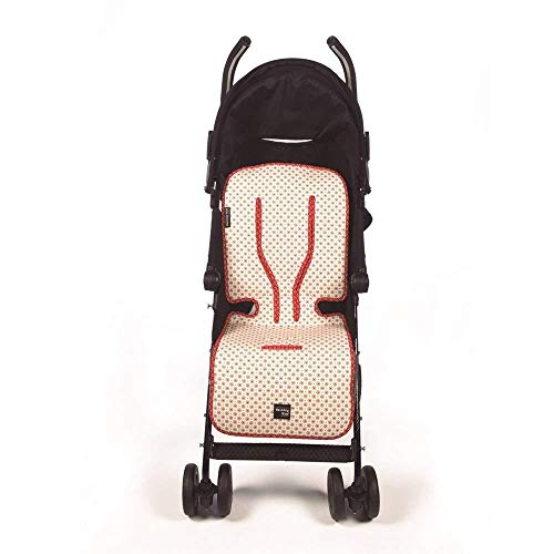 Walking Mum - Colchoneta de verano beige/rojo siena para silla de paseo universal