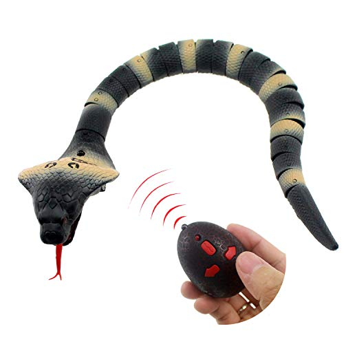 Tipmant RC Snake IR Remote Control Cobra Fake Realistic Naja Animal Crawlers Vehicle Scary Trick Kids Halloween Christmas Prank Toys Birthday Gifts (Grey)