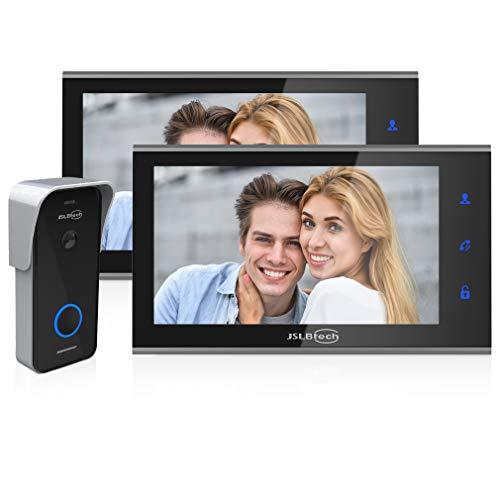 JSLBtech Sistema Intercomunicador Videoportero 7 Pulgadas HD Monitor Timbre Puerta,Versión Nocturna Infrarrojos,Soporte...