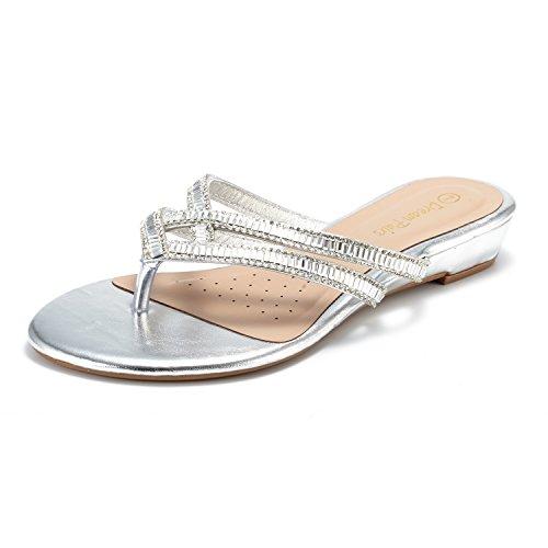 DREAM PAIRS Women's Jewel_01 Silver Fashion Rhinestones Design Slides Sandals Size 7.5 M US