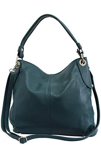 AMBRA Moda Damen echt Ledertasche Handtasche Schultertasche Beutel Shopper Umhängtasche GL012 (Petrol)