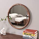 Espejo Redondo Moderno con Marco De Madera De Nogal Negro, 50 cm, 60 cm, 70 cm - Decoración de Muebles de Pared para Dormitorio, Entrada, Sala De Estar