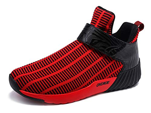 Herren Print Slip On Casual Walk Trainer Elastic Mesh Sneakers, Rot - schwarz / rot - Größe: 44 EU