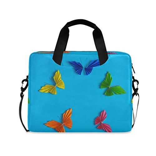 Laptoptasche, bunte Papier-Schmetterlings-Aktentaschen, Computer-Tragetasche, 40,6 cm (16 Zoll), Schutzhülle mit Griff, mehrere Taschen, niedliches Design