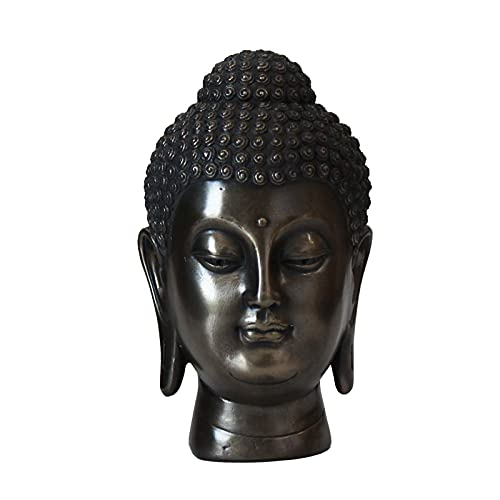 Carefree Fish Buddha Head Statue Wall Home Buda Figurine Zen Decor Meditation Decoration (Sculpted Cold Cast Bronze) 5Inch