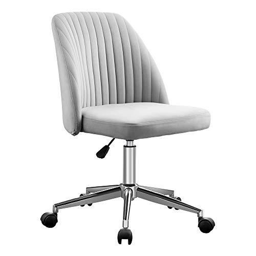 VANSPACE Home Office Chair Velvet Vanity Chair Task Chair Mid-Back Ergonomic Chair for Dresser Table Work Study Living Room, Adjustable Swivel Chair, Gray