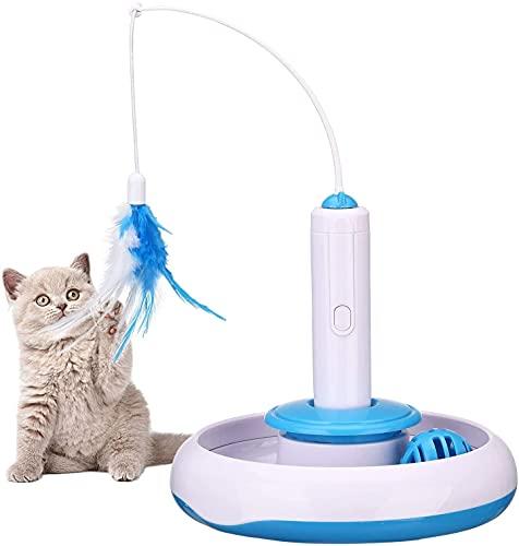 PETTOM Interaktives Katzenspielzeug, Elektrisches Mute Spielzeug für Katzen 360° Automatisch rotierende Teaser Feder und Ball, Intelligenzspielzeug Spiels Federspielzeug (Inklusive Ersatz Feder)