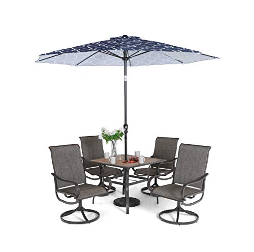 Sophia & William Patio Dining Set 6 Pieces with 9 ft Umbrella, 1x Square 37'x 37' Dining Table, 4 Swivel Chairs Furniture Set for Outdoor Garden Lawn Pool