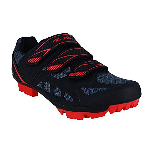 Zol Predator Scarpe per ciclismo, per mountain bike e attivit ciclistica in interni, Black with Red, 41 CM (EU)/ 8.5 (US)