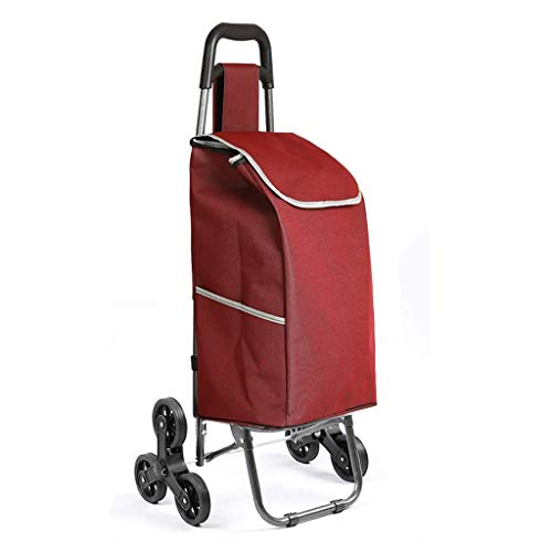 Trolley portátil del hogar, Compras, Carro pequeño, Plegable supermercado Cesta de la Compra, Que Sube el acoplado de la Carretilla (Color : Red)