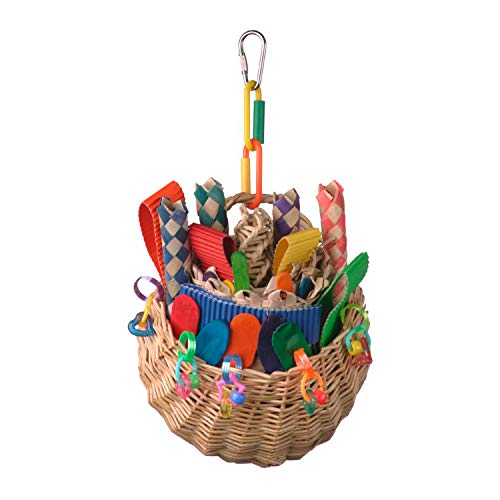 "Super Bird SB669 Wicker Foraging Basket Bird Toy with Array of Chewable Toys for Parrots, Medium Size, 10"" x 4"" x 5"""