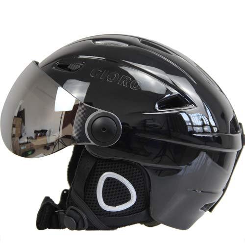 IAMZHL Skihelm Schutzbrille Visier Männer Frauen Snowboard Helm Moto Schneemobil Skateboard Helm Maske Winter Warm Fleece Capacete-Light black-2-L