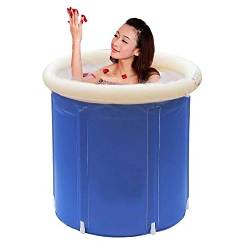 Faltbare Badewanne Rund Aufblasbare Badewanne Erwachsene SPA Badewanne Fass Dicker kältebeständiges Badewanne mit Luftpumpe für Dusche Heißes Bad Eisbad 70x70cm