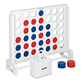 JOYMOR Giant Wooden 4 in a Row Game with Storage Bag, Huge 4 Connect in a Row Family Game Fun for Adults and Kids (White, 31.5' L)