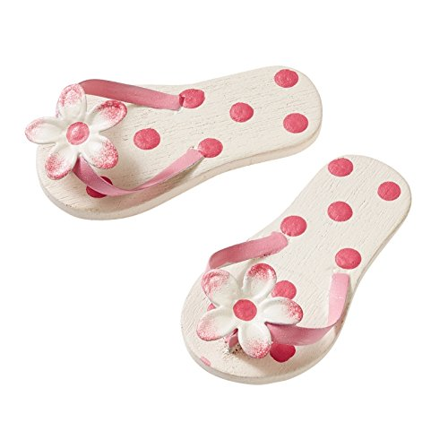 Flip-Flops, 4,5 cm, rosa mit Punkten, holz-metall
