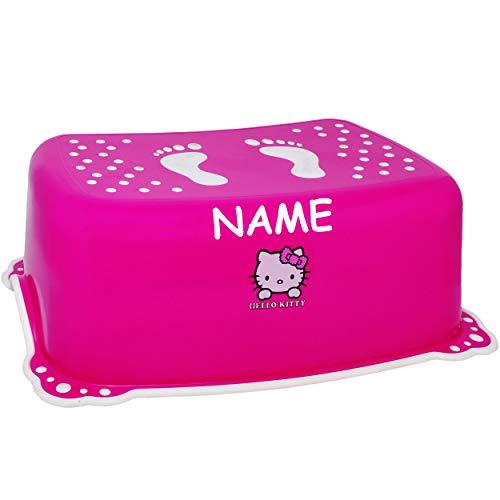 alles-meine.de GmbH Anti RUTSCH - Trittschemel / Tritthocker / Kindersitz - pink - rosa _ Hello Kitty - Katze _ inkl. Name - Bieco - Tritt - Kinderschemel & Kindertritt - bis 100..