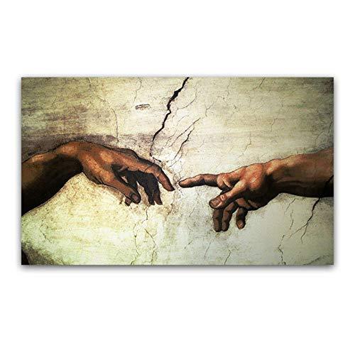 LOIUYT Creación de Dios grabados de la mano de Adán Frescos religiosos Famosos cuadros de copias de frescos en la Capilla Sixtina de Miguel Ángel 40X60CM