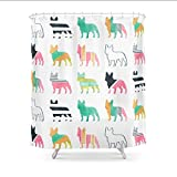 hysxm Französischer Bulldoggen-Duschvorhang Vorhang Für Badezimmer-Wasserdichtes Polyester-160(H)*200(W) cm