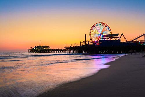 Santa Monica, California - Santa Monica Pier with Sunset Reflection 9032344 (12x18 Art Print, Wall Decor Travel Poster)
