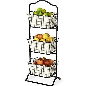 SimpleHouseware 3-Tier Rigid Wire Market Fruit Basket Stand Black