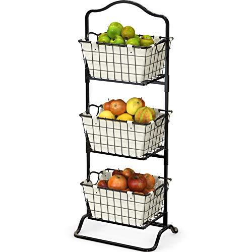 Simple Houseware 3-Tier Rigid Wire Market Fruit Basket Stand Black