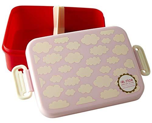 Rice Kinder Lunchbox mit Trennwand und 2 Fächern - Rot mit Wolken