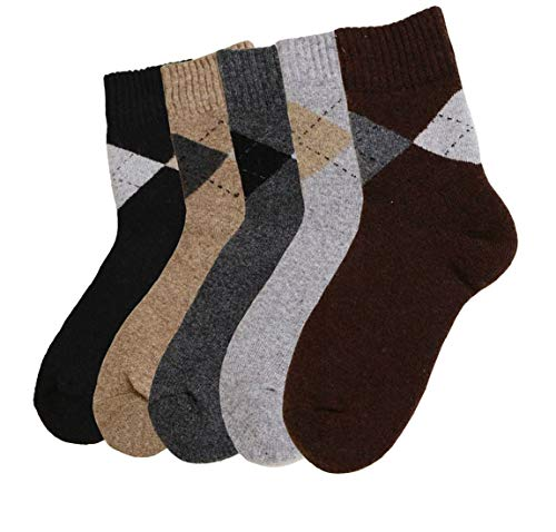Mens 5-Pack Thick Warm Pure Wool Socks,Multicolor