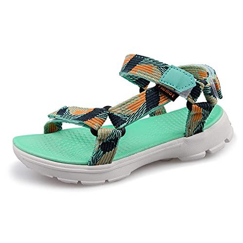 riemot Sandalias Deportivas para Niños, Sandalia para Trekking Verano Zapatillas de Deporte al Aire Libre Zapatos Playa Antideslizantes, para Caminar, Viajar, Verde 2 EU 35