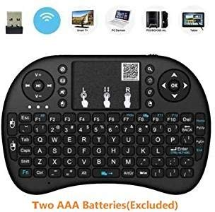 2019 I8 Mini Wireless Keyboard 2.4GHz Wireless Mini Handheld Remote AAA Battery Keyboard with Touchpad for PC,Raspberry Pi 2/3, Kodi Android TV Box,Windows 7 8 10(US Layout/Battery Excluded)