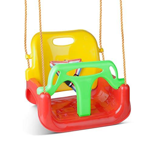 Glymnis Altalena da Giardino 3 in1 per Bambini Seggiolino Altalena Bambini Sedile in Plastica con Corrimano Schienale e Cintura di Sicurezza, per Esterno Interno e Neonato