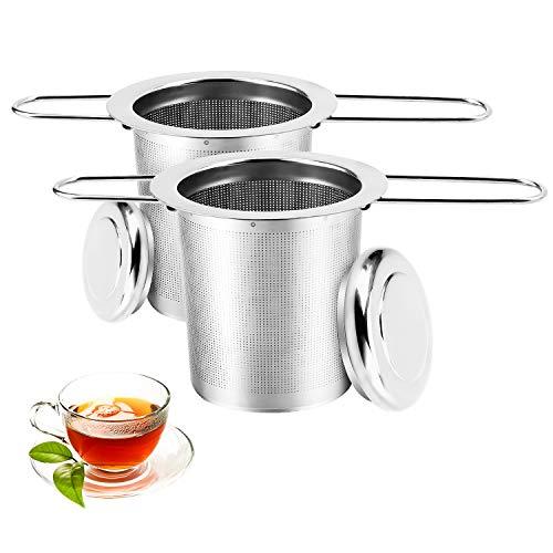 Filtro da Tè Per Il Tè, 2 Set Infusore tè Filtro in Acciaio Inossidabile con Coperchio e Manico Pieghevole, Ripiano in Filtro in Rete per Teiera, Tazze da Tè