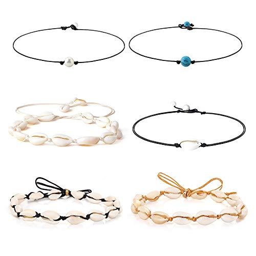 Besteel 6Pcs Sea Shell Choker Necklaces for Women Girls Hawaiian Seashell Pearls Choker Adjustable Cord Necklace Set