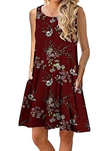 OMZIN Vestido de Camiseta de Mujer Vestido sin Mangas de Camisa Suelta Vestido de Verano Suelto de Color Liso Vino Rojo XS