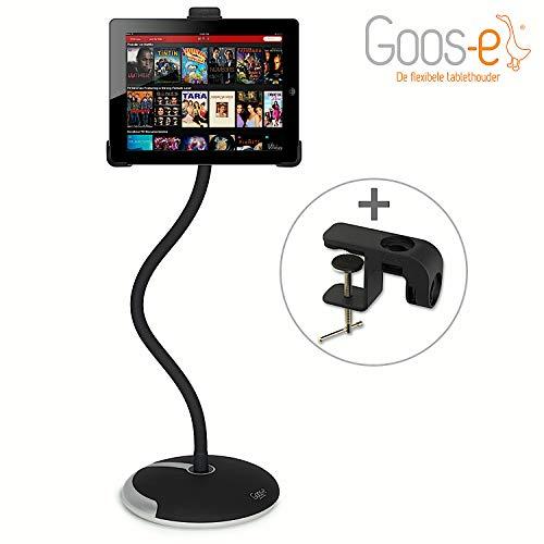 GOOS-E Tablethouder - iPad houder - voet + klem - STERK -STIJLVOL-FLEXIBEL - universeel - zwart