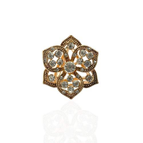 Tendycoco Ring, driewieler, kristal, gesp voor sjaals, bloemen, diamant, ter decoratie (antiek goud)