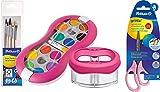 Pelikan Deckfarbkasten 735 SP/12 mit 12 Farben und 1 Tube Deckweiß/Starter (Magenta mit Space-Wasserbecher + Pinsel-Set + Bastelschere)