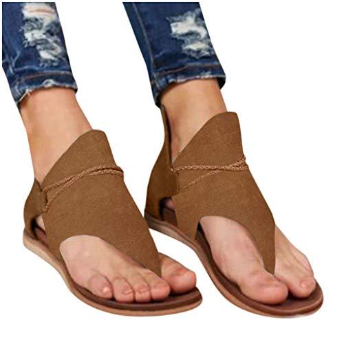 Dorical Gladiator Sandalen Damen Schuhe Flip-Flops Böhmen Shoes Schuh Sommer Bequeme Frauen Übergröße Vintage Offene Strand Flache rutschfest Badesandalette