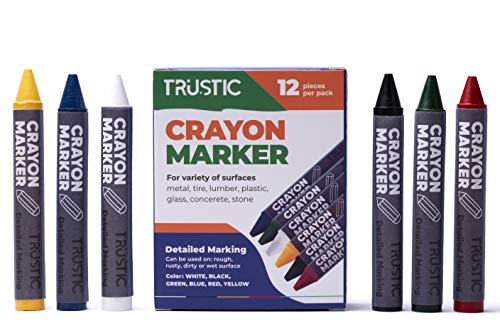 Trustic Universal Crayon Wax Marker for Industrial and Craft Detailed Marking on Lumber Metal Carton Ceramics Concrete Glass Plastic Tire, Pack of 12 (Multicolor)