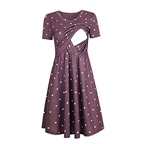 Covermason -Vêtements grossesse Women Pregnant Maternity Nursing Stripe Breastfeeding Summer Short Sleeve Dress