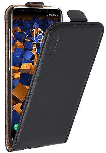 mumbi Echt Leder Flip Case kompatibel mit Samsung Galaxy S8 Hülle Leder Tasche Case Wallet, schwarz