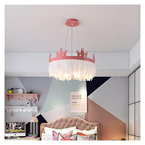 Lámpara De Techo Dibujos animados Crown Crystal Feather Dormitorio LED araña Nórdica Simple moderno Niños Habitación Cálido y romántico decorativo chandelier (Body Color : PINK)